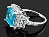 Blue And White Cubic Zirconia Silver Ring 10.89ctw