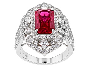 Lab Created Ruby And White Cubic Zirconia Silver Ring 7.65ctw