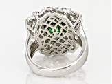 Green And White Cubic Zirconia Silver Ring 9.59ctw