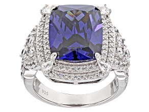 Blue And White Cubic Zirconia Silver Ring 15.69ctw