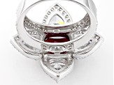 Lab Created Ruby And And White Cubic Zirconia Silver Ring 12.75ctw