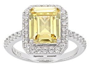 Yellow And White Cubic Zirconia Silver Ring 7.15ctw (4.33ctw DEW)