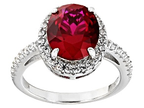 Lab Created Ruby And White Cubic Zirconia Silver Ring 6.65ctw