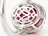 Lab Created Ruby And White Cubic Zirconia Rhodium Over Silver Ring 6.65ctw