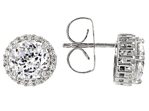 Scintillant Cut Cubic Zirconia Silver Earrings 5.16ctw (3.60ctw DEW)