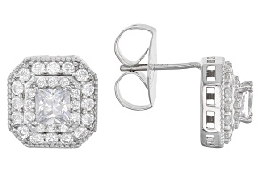 Cubic Zirconia Silver Earrings 1.93ctw (1.42ctw DEW)