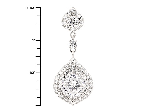 Cubic Zirconia Silver Pendant With Chain 6.26ctw (3.23ctw DEW)