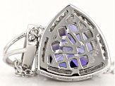 Blue And White Cubic Zirconia Silver Pendant With Chain 9.68ctw