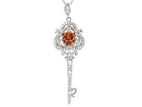 Brown And White Cubic Zirconia Silver Key Pendant With Chain 4.34ctw (2.82ctw DEW)
