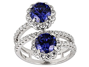 Blue And White Cubic Zirconia Silver Ring 6.57ctw
