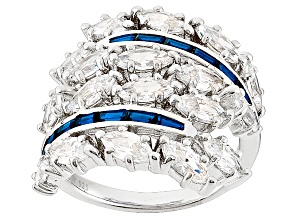 Blue And White Cubic Zirconia Silver Ring 8.01ctw