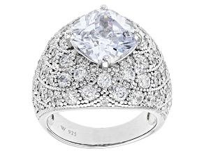 Cubic Zirconia Silver Ring 10.05ctw (7.72ctw DEW)