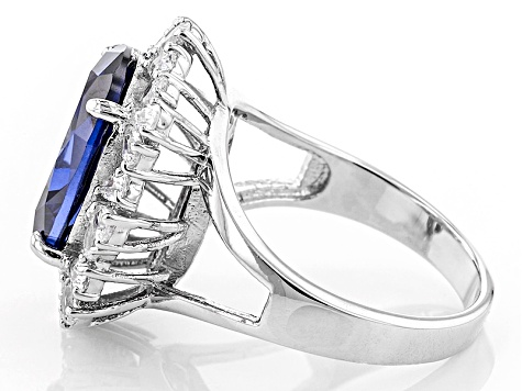 Blue And White Cubic Zirconia Silver Ring 11.40ctw