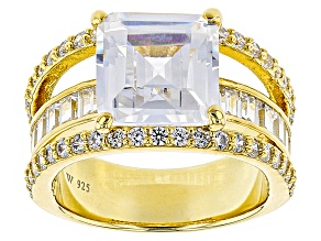 White Cubic Zirconia 18k Yellow Gold Over Sterling Silver Ring 10.81ctw