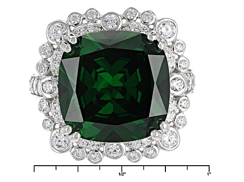 Green And White Cubic Zirconia Silver Ring 21.60ctw