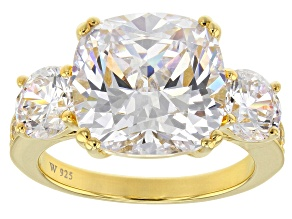 Cubic Zirconia 18K Yellow Gold Over Silver Ring 14.87ctw (8.63ctw DEW)