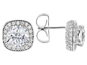 White Cubic Zirconia Rhodium Over Sterling Silver Earrings 10.21ctw