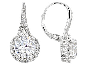 White Cubic Zirconia Rhodium Over Sterling Silver Earrings 7.44ctw