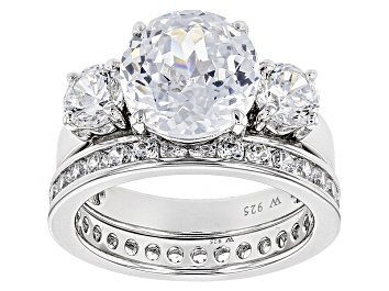 Picture of White Cubic Zirconia Scintillant Cut Rhodium Over Sterling Silver Ring 9.70ctw