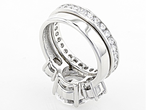 White Cubic Zirconia Scintillant Cut Rhodium Over Sterling Silver Ring 9.70ctw