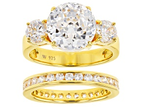 White Cubic Zirconia Scintillant Cut 18k Yellow Gold Over Sterling Silver Ring 9.70ctw