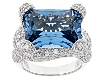 Picture of Lab Created Blue Spinel And White Cubic Zirconia Silver Ring 22.18ctw (16.23ctw DEW)