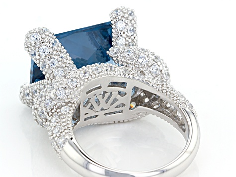 Lab Created Blue Spinel & White Cubic Zirconia Rhodium Over Silver Ring 22.18ctw (16.23ctw DEW)