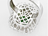 Green And White Cubic Zirconia Silver Ring 9.96ctw