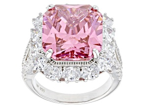 Pink And White Cubic Zirconia Silver Ring 21.19ctw (14.53ctw DEW)
