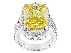 Yellow And White Cubic Zirconia Rhodium Over Sterling Silver Ring 20.79ctw
