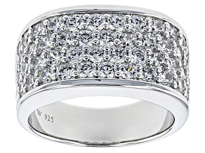 Cubic Zironia Silver Ring 3.47ctw (1.82ctw DEW)