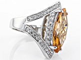 Brown And White Cubic Zirconia Silver Ring 14.11ctw (8.93ctw DEW)