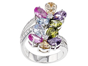 Lab Created Pink Sapphire, Lab Created Blue Spinel And Multicolor Cubic Zirconia Silver Ring