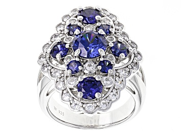 Picture of Blue And White Cubic Zirconia Silver Ring 7.03ctw