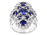 Blue And White Cubic Zirconia Silver Ring 7.03ctw