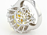 Yellow And White Cubic Zirconia Silver Ring 20.03ctw (11.37ctw DEW)