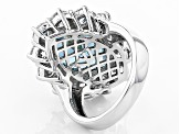 Lab Created Blue Spinel And White Cubic Zirconia Rhodium Over Sterling Silver Ring 16.60ctw