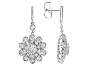 White Cubic Zirconia Rhodium Over Sterling Silver Earrings 8.36ctw