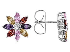 White, Red, Pink, Purple, & Brown Cubic Zirconia Rhodium Over Sterling Ring 3.84ctw