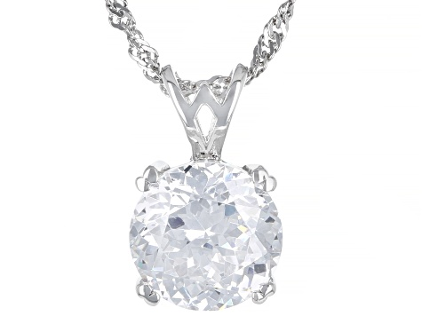 Cubic Zirconia Rhodium Over Silver Pendant With Chain 6 30ct (3 87ct DEW)