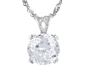 Cubic Zirconia Silver Pendant With Chain 6.30ct (3.87ct DEW)