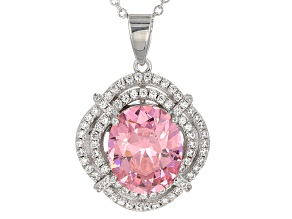 Pink And White Cubic Zirconia Silver Pendant With Chain 10.18ctw (5.42ctw DEW)
