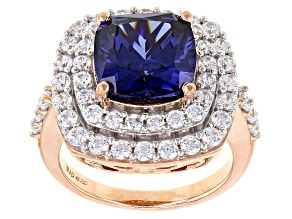 Blue And White Cubic Zirconia 18k Rose Gold Over Sterling Silver Ring 9.31ctw