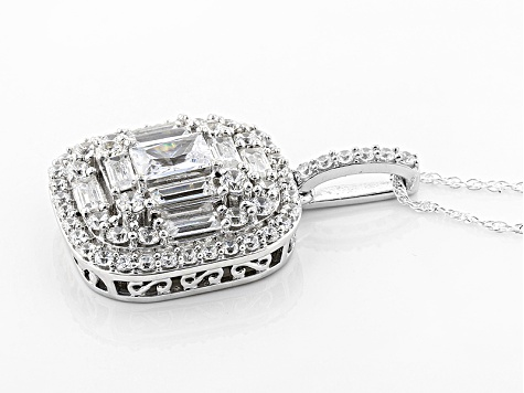 White Cubic Zirconia Rhodium Over Sterling Silver Pendant With Chain 5.20ctw