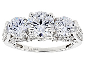 White Cubic Zirconia Rhodium Over Sterling Silver Ring 7.19ctw