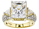 White Cubic Zirconia 18k Yellow Gold Over Sterling Silver Ring 12.25ctw
