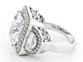 White Cubic Zirconia Rhodium Over Sterling Silver Ring 14.05ctw