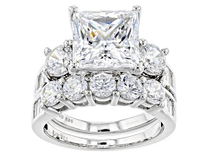 White Cubic Zirconia Rhodium Over Sterling Silver Ring With Band 14.72ctw