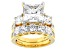 White Cubic Zirconia 18k Yellow Gold Over Silver Ring With Band 14.72ctw