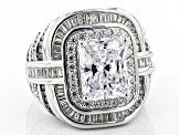 White Cubic Zirconia Rhodium Over Sterling Silver Ring 10.85ctw